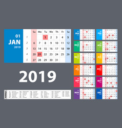 calendar 2019 colorful set week starts on sunday vector image