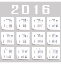 Calendar for 2016 Week Starts Monday vector image