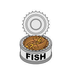 Canned fish isolated tin fish vector