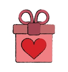 carton pink gift box with heart and bow vector image