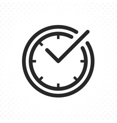 check mark on clock line icon vector image