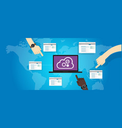 Cloud os operating system laptop online internet vector