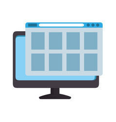 Computer monitor with webpage template vector