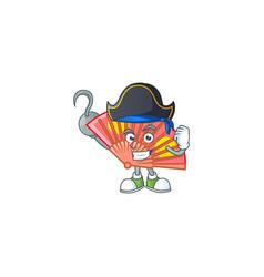 Cool one hand pirate folding fan wearing hat vector