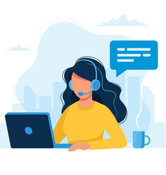 customer service woman with headphones and vector image