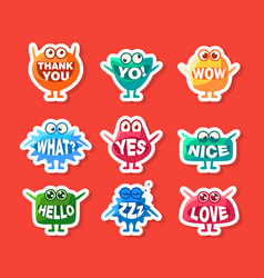 cute monsters stickers set funny colorful emoji vector image