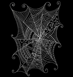 decorative beautiful spider web black and white vector image