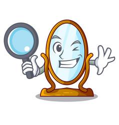 detective big cartoon mirror in wooden frame vector image