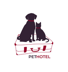 dog and cat sitting on a suitcase pet hotel icon vector image