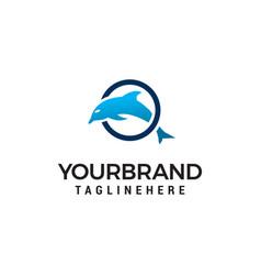 dolphin jumping circle logo design concept vector image