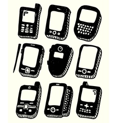 Doodle style mobile phones set vector image