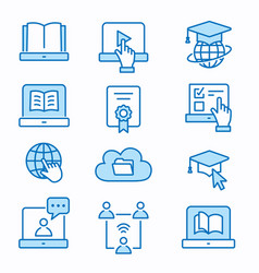 E-learning distance education icons set editable vector
