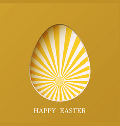 easter egg with rays on green background eps10 vector image