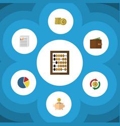 flat icon gain set of graph money box document vector image