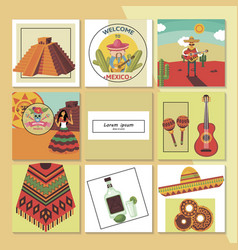 flat welcome to mexico composition vector image