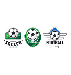 football and soccer badges or labels set vector image