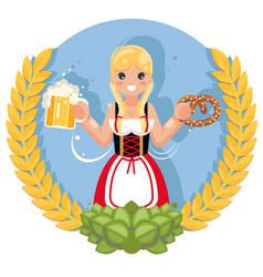 girl with beer mug pretzel oktoberfest poster vector image