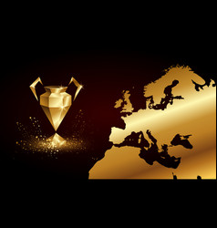 Golden low poly champions league cup banner vector