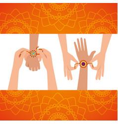 Hands with flowers bracelet hindu decoration vector