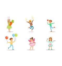 happy kids with painted faces and festival vector image