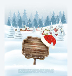 holiday christmas background with wooden sign and vector image