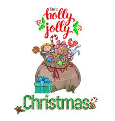 Holly jolly greeting card vector