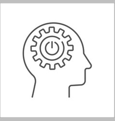 Human head with cogwheels inside linear icon vector