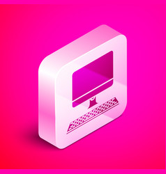 Isometric computer monitor with keyboard icon vector