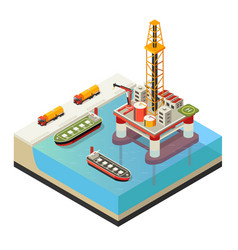 isometric water oil platform concept vector image