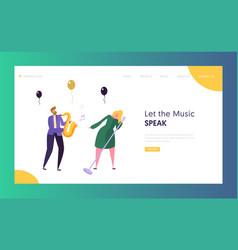 Jazz concert show concept landing page vector