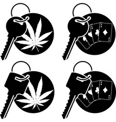 Keys of cannabis and casino vector
