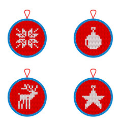 knitted christmas decorations vector image