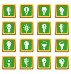lamp logo icons set green vector image