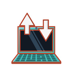 laptop with arrows icon vector image