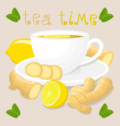 logo for white ceramic cup tea vector image