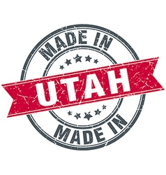 Made in Utah red round vintage stamp vector