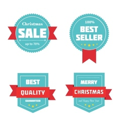 Merry Christmas sale badges vector