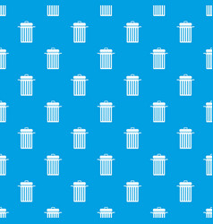 metal trash can pattern seamless blue vector image