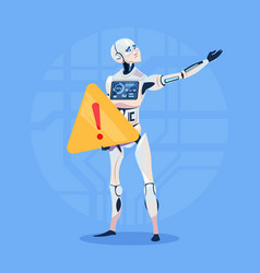 Modern robot showing error message futuristic vector