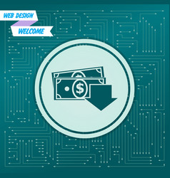 money cash icon on a green background with arrows vector image