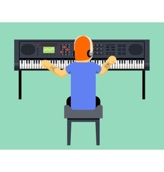 Musician Synthesizer Geek Hipster Music Player vector image