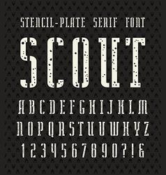 Narrow stencil plate serif font vector