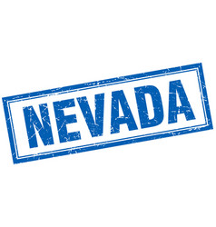 Nevada blue square grunge stamp on white vector