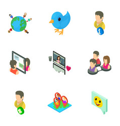 notice icons set isometric style vector image