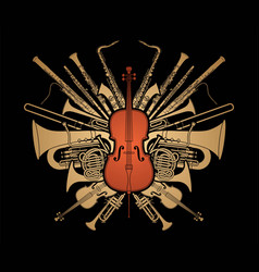 orchestra instruments set cartoon silhouette vector image