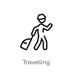 Outline travelling icon isolated black simple vector