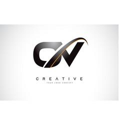 ov o v swoosh letter logo design with modern vector image