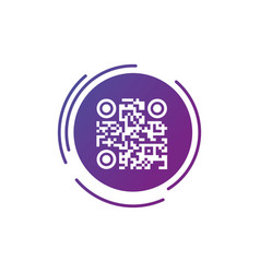 Qr code sign icon in purple gradient futuristic vector