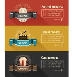 Retro cinema banners posters vector