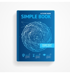 Science book with abstract sphere flat vector